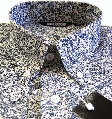 Mens Shirt White Dark Navy Paisley Button Down Collar - Relco