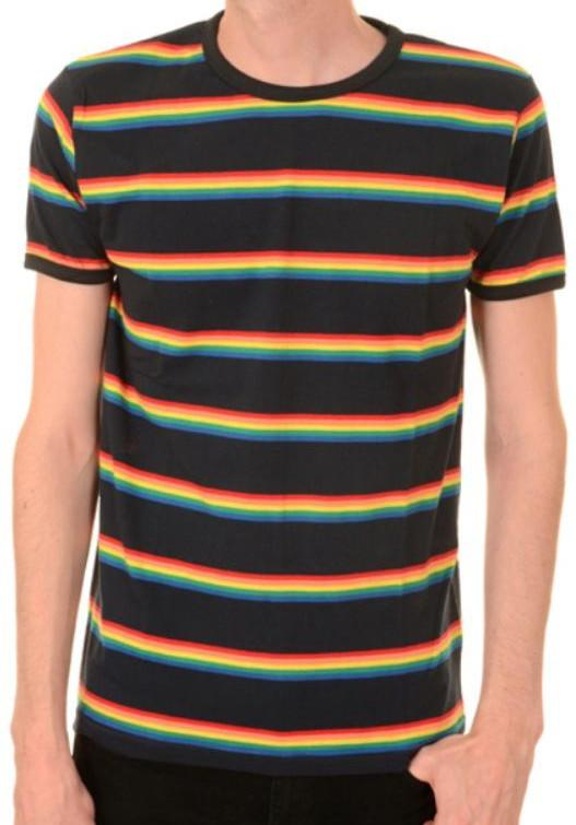 T Shirt Navy Rainbow Stripe Short  Sleeve
