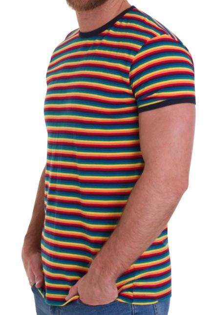 T Shirt 70's Retro Rainbow Stripe Short  Sleeve