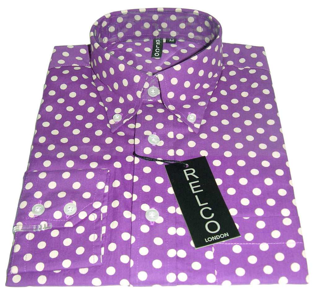 Shirt Polka Dot Men's Purple Classic Mod Vintage - CXLondon.Com