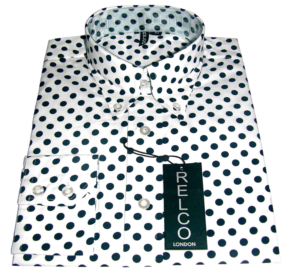 Shirt Polka Dot Men's White  Casual - CXLondon.Com
