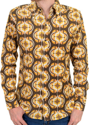 Men's Geometric Op Art - Long Sleeve Gold Brown - Run & Fly