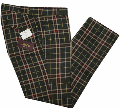 Sta Press Trousers Green Tartan Check