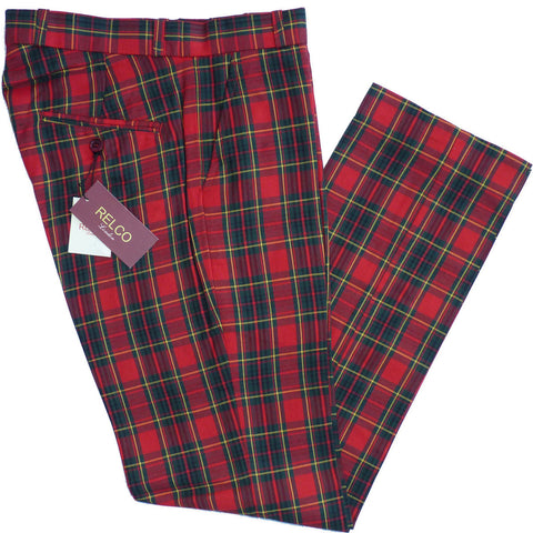 Sta Press Trousers Red Tartan Check