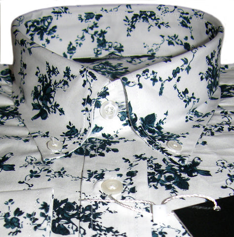 Shirt Dark Blue Retro Floral Pattern Vintage Design - Relco