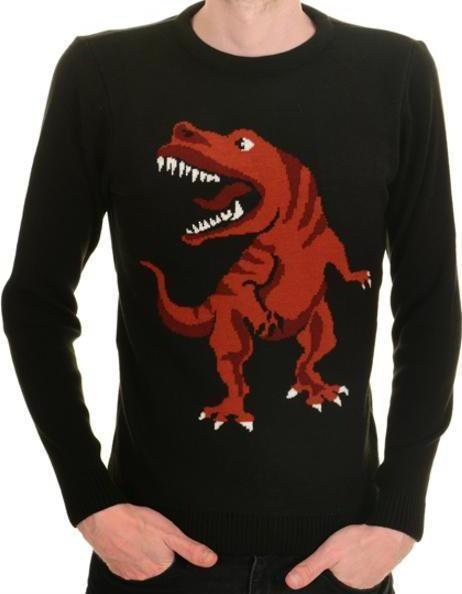 Mens Kitsch T Rex Dino-Roar Jumper by Run & Fly