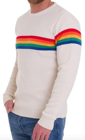 Mens Cream 60s 70s Vibe Hipster Rainbow Jumper