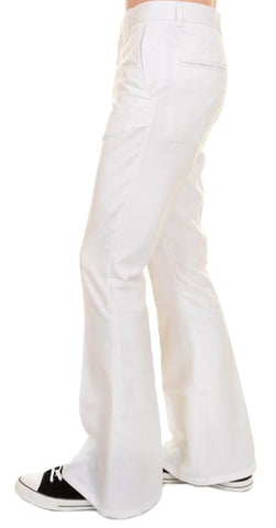 Mens 60s 70s Vintage Presley White Bell Bottom Trousers Slacks