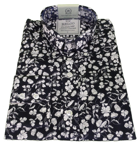 Mens Shirt Midnight Navy & White Floral Button Down Collar - Relco Luxury Platinum