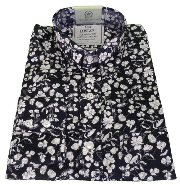 Mens Shirt Midnight Navy White Floral Button Down Collar - Platinum Relco
