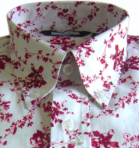 Mens Burgundy Floral Pattern Vintage Button Down Shirt - Relco