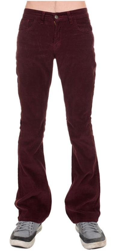 Mens Retro Vintage Burgundy Corduroy Bootcut Flared Jeans