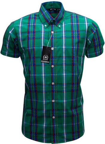 Shirt Green Purple Tartan Check Men's Short Sleeve Relco