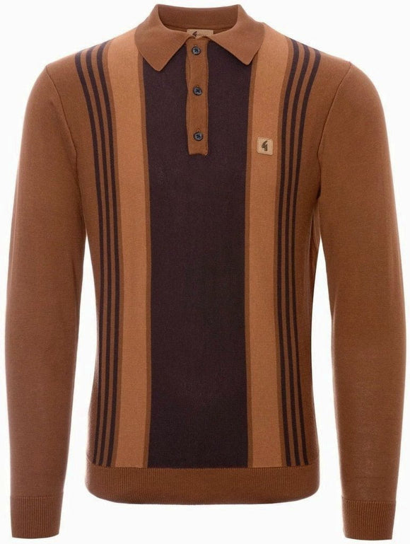 Gabicci Vintage Polo Top 'Searle' Long Sleeve Toffee