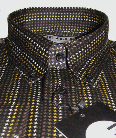 Shirt Dogtooth Check Black Gold Brown White  Mr Free™