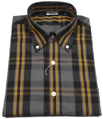 Shirt Black Grey Yellow Check Men's Short Sleeve