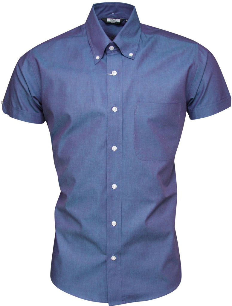 Shirt Men's Tonic Blue/Purple Short Sleeve Classic Mod Vintage - CXLondon.Com
