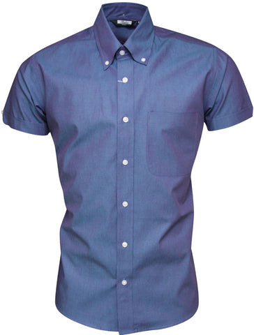 Shirt Men's Tonic Blue Purple Short Sleeve Classic Mod Vintage