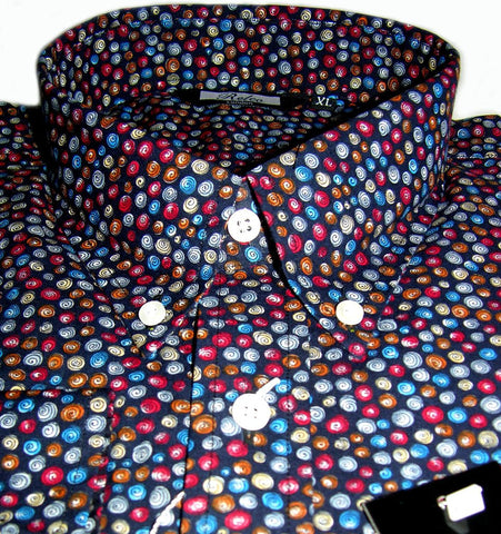 Mens Black With Multi Colour Swirls Pattern Shirt - Relco