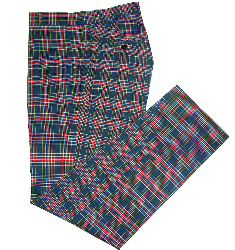 Sta Press Tartan Navy Trousers - CXLondon.Com