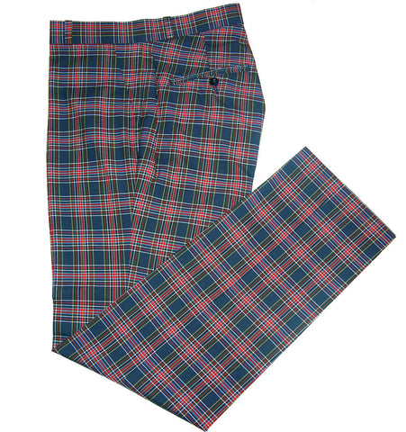 Sta Press Tartan Navy Trousers
