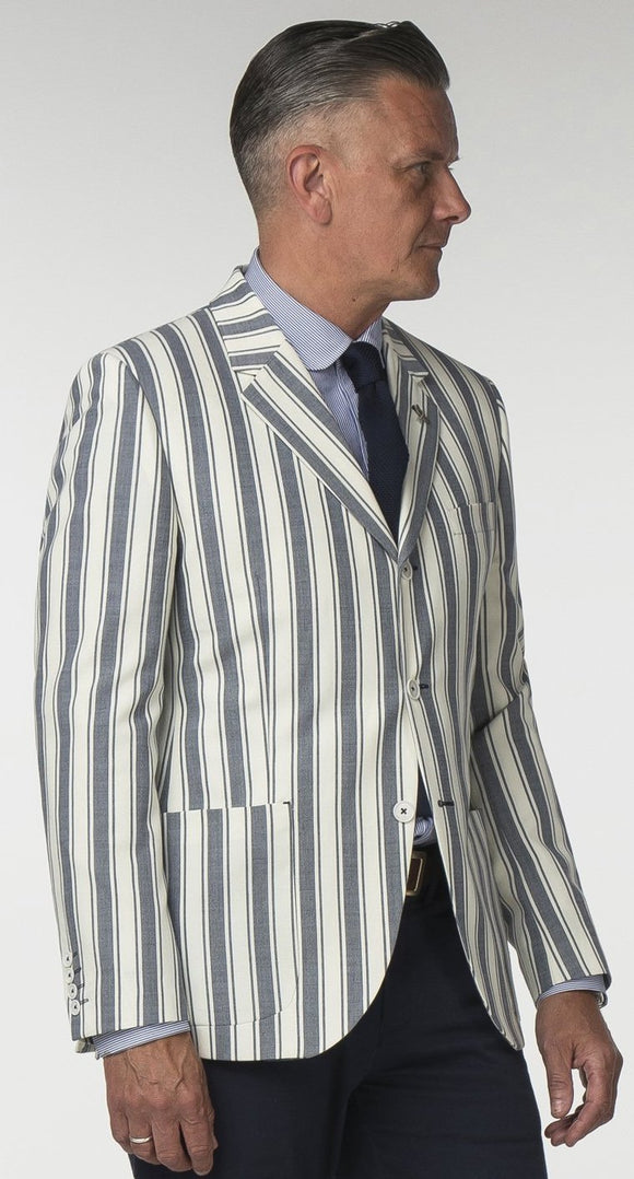 Blazer Navy And Cream Stripe Jacket Gibson London