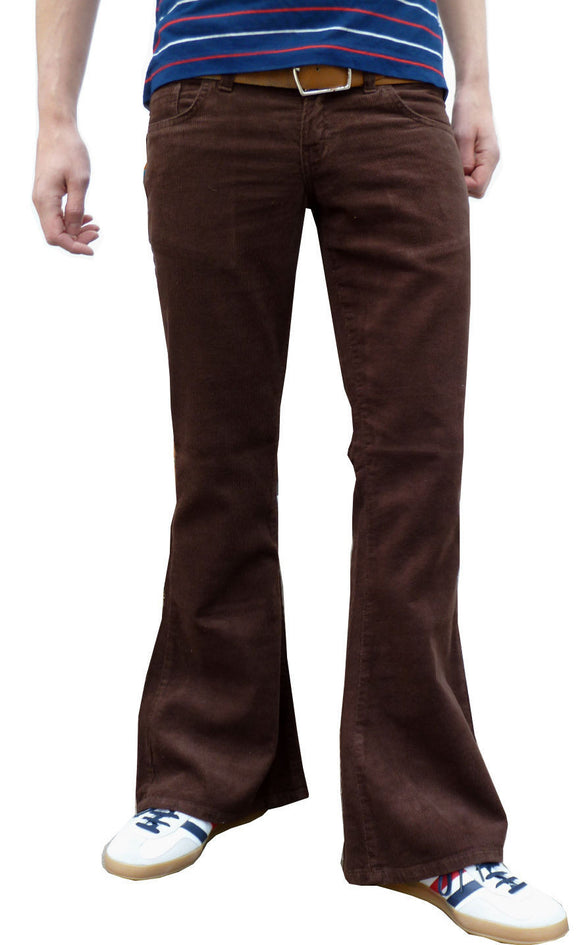 Mens 60s 70s Vintage Brown Bell Corduroy Bottom Flares