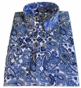 Mens Paisley Shirt Blue White Button Down Collar - Relco