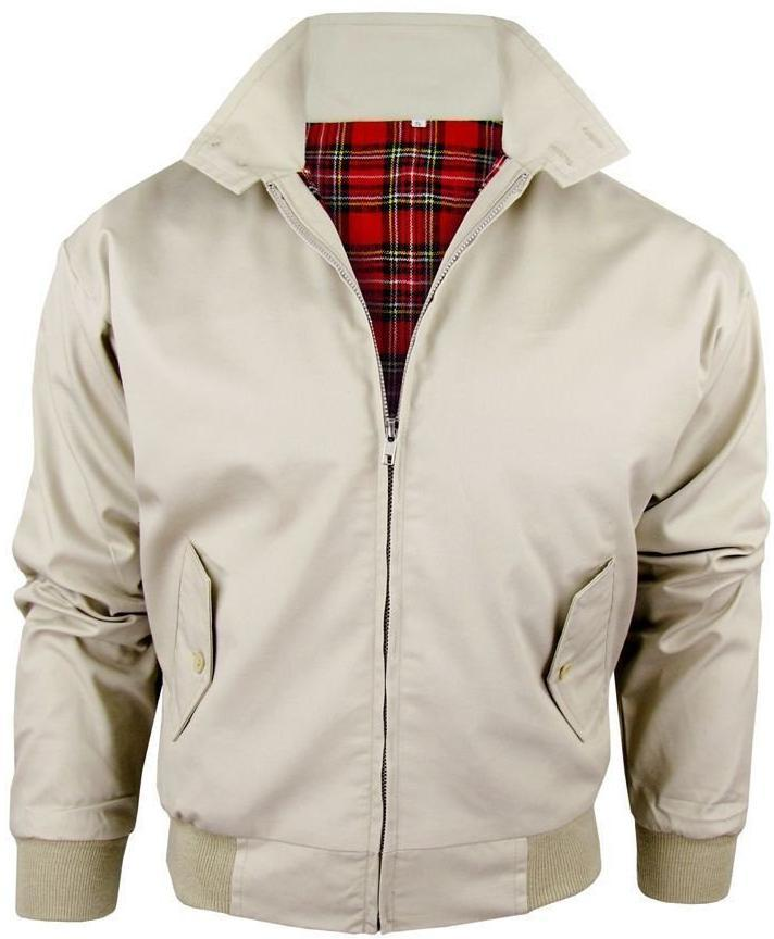 Harrington Jacket Biege With Tartan Lining Relco