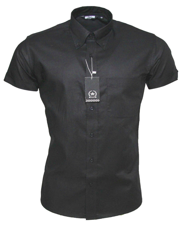 Black Oxford Button Down Short Sleeve Shirt - Relco - CXLondon.Com