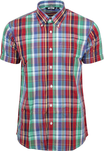 Shirt Multi Check Green Blue Men's Short Sleeve
