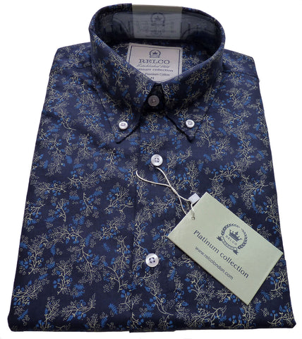 Mens Shirt Blue Sky Gold Floral Button Down Collar - Relco Platinum