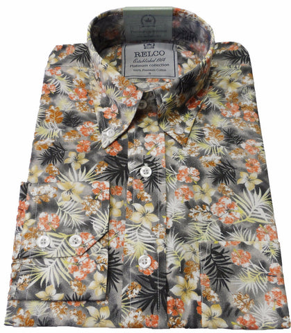 Mens Floral Peach Charcoal Shirt - Platinum Range Relco