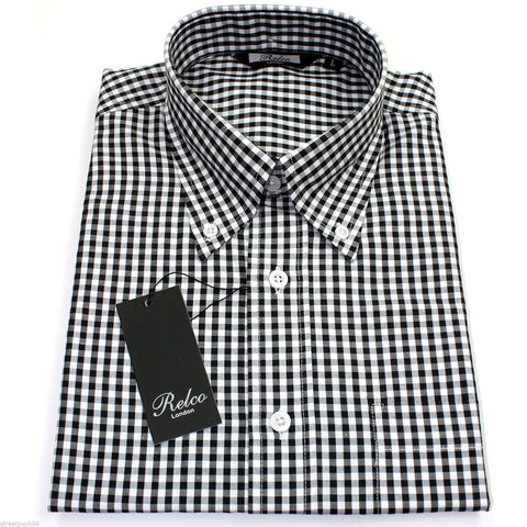 Shirt Gingham Check Black White Short Sleeve
