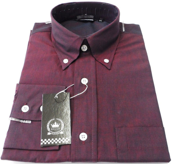 Mens Two Tone Tonic Shirt Burgundy Black Button Down Long Sleeve - Relco