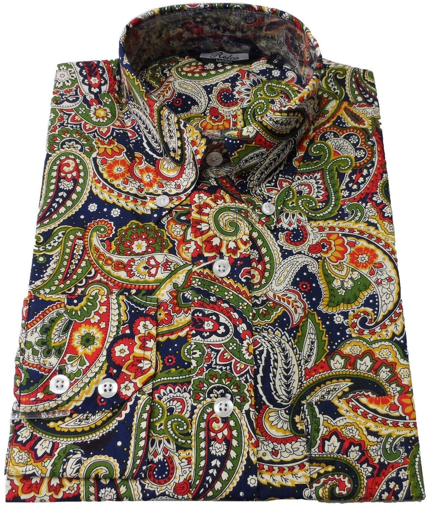 Shirt Paisley Men's Multi Blue - Relco