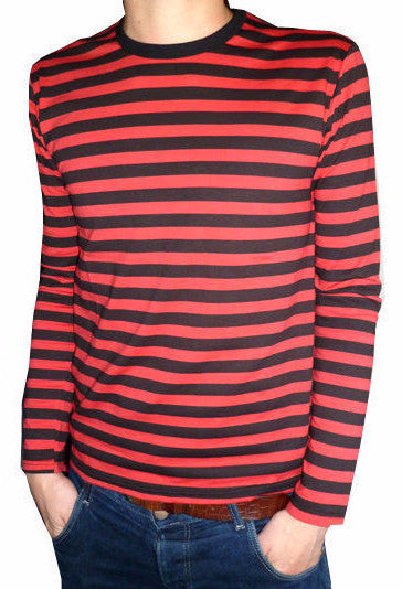 T Shirt Red Black Stripes Long Sleeve