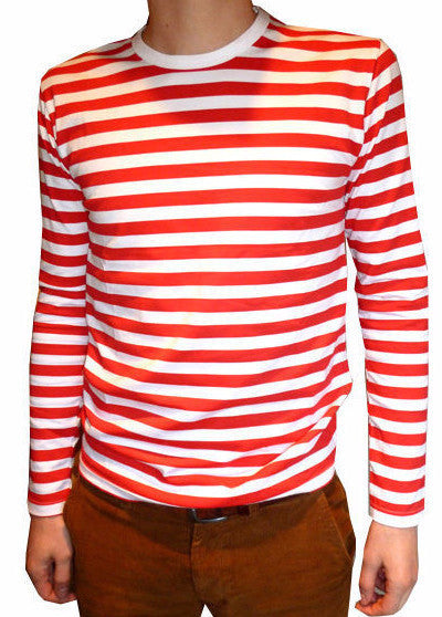 T Shirt Red White Stripes Long Sleeve