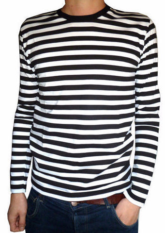 T Shirt Black White Stripes Long Sleeve
