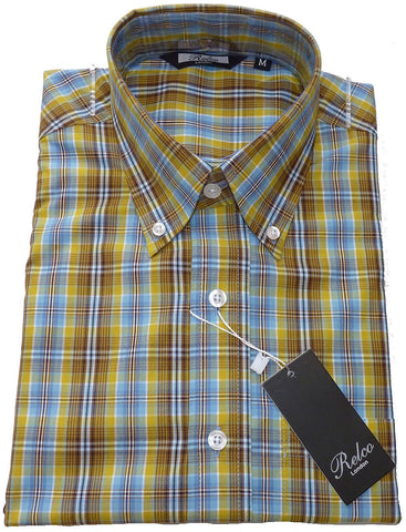Shirt Yellow & Sky Blue Check Men's Short Sleeve