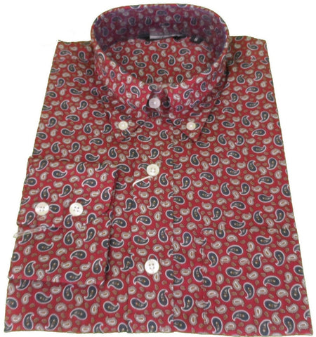 Shirt Paisley Men's Burgundy - Relco