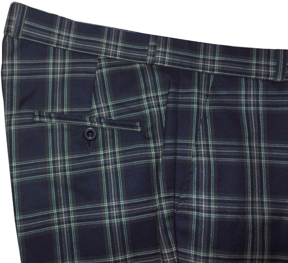 Sta Press Navy Blue Tartan Trousers