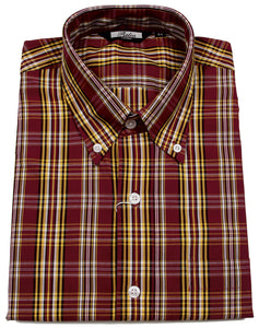 Shirt Burgundy Mustard Check Men's Short Sleeve