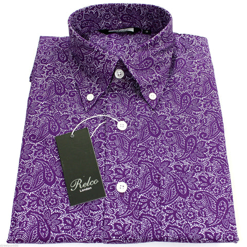 Shirt Paisley Men's Purple Classic Mod Vintage