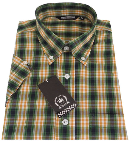 Shirt Green Yellow Check Men's Short Sleeve