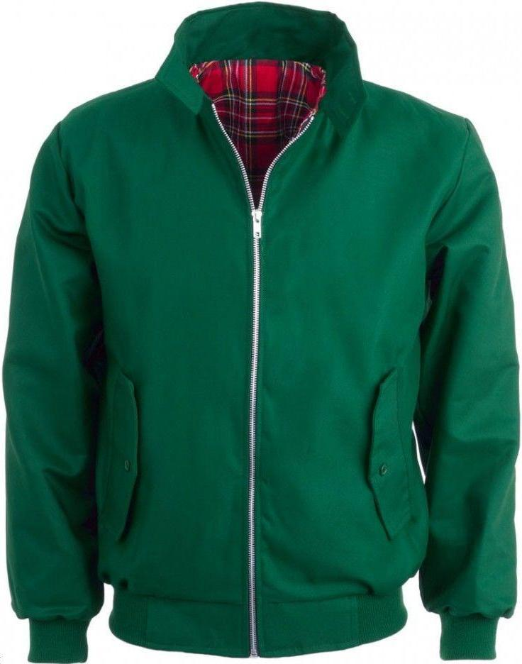 Harrington Jacket Green With Tartan Lining Relco