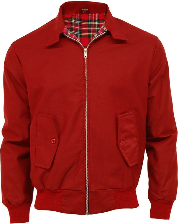 Harrington Jacket Red With Tartan Lining Relco - CXLondon.Com
