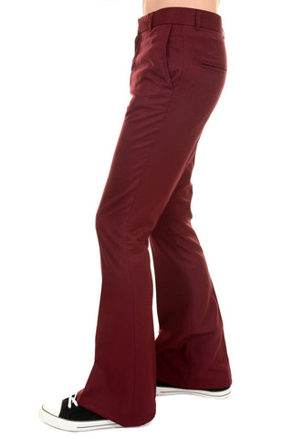Mens 60s 70s Vintage Presley Burgundy Bell Bottom Trousers Slacks