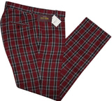 Tartan Burgundy Trousers Sta Press Relco