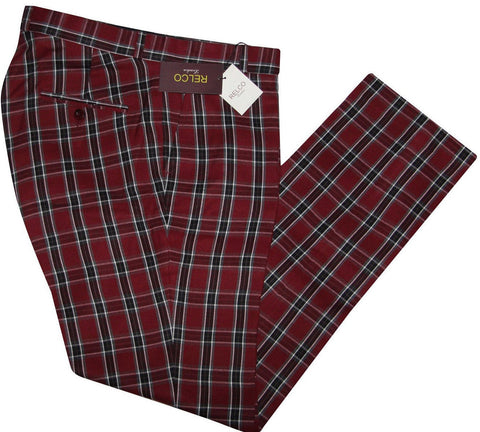 Sta Press Trousers Burgundy Tartan Check